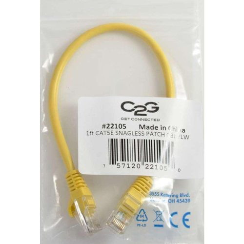 C2G 10ft Cat5e Snagless Unshielded (UTP) Network Patch Cable   Yellow In-Package/500