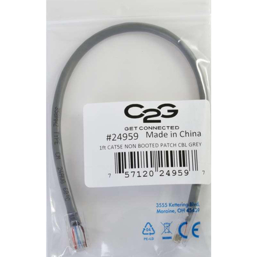 C2G 14ft Cat5e Non Booted Unshielded (UTP) Network Patch Cable   Gray In-Package/500