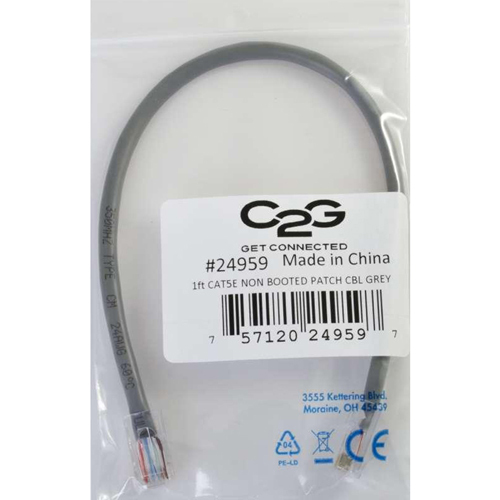 C2G 3ft Cat5e Non Booted Unshielded (UTP) Network Patch Cable   Gray In-Package/500