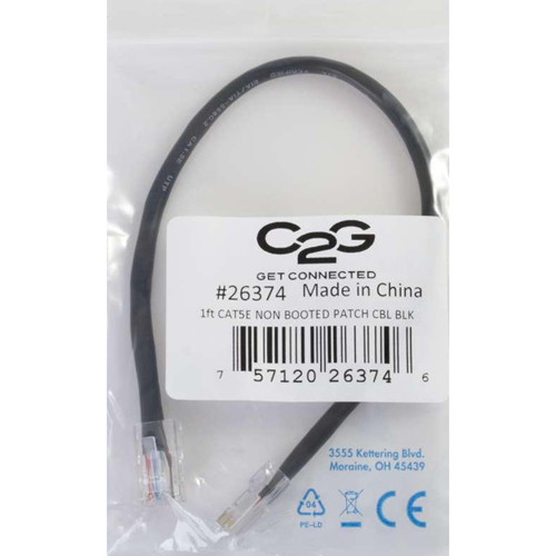 C2G 7ft Cat5e Non Booted Unshielded (UTP) Network Patch Cable   Black In-Package/500