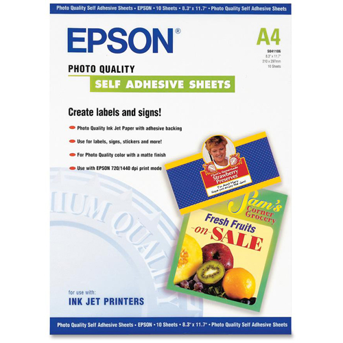 Epson A4 Self Adhesive Photo Paper In-Package/500