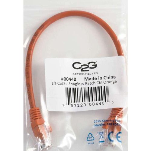 C2G 5ft Cat5e Snagless Unshielded (UTP) Network Patch Cable   Orange In-Package/500