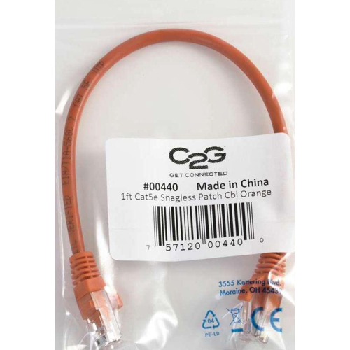 C2G 15ft Cat5e Snagless Unshielded (UTP) Network Patch Cable   Orange In-Package/500