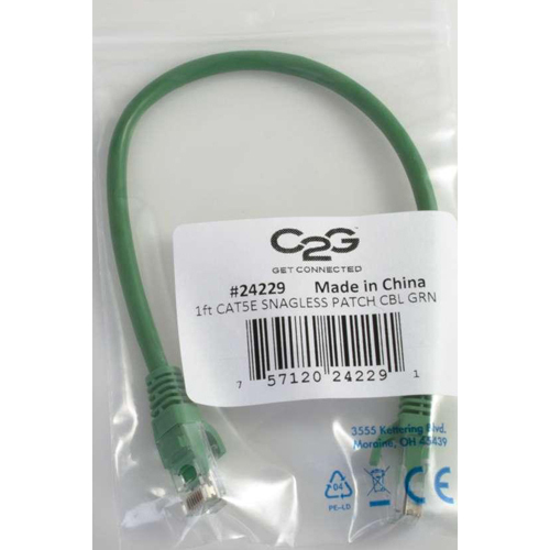 C2G 1ft Cat5e Snagless Unshielded (UTP) Network Patch Cable   Green In-Package/500
