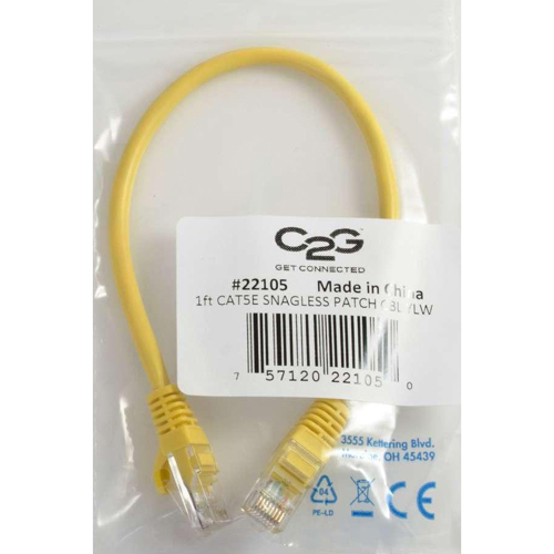 C2G 1ft Cat5e Snagless Unshielded (UTP) Network Patch Cable   Yellow In-Package/500