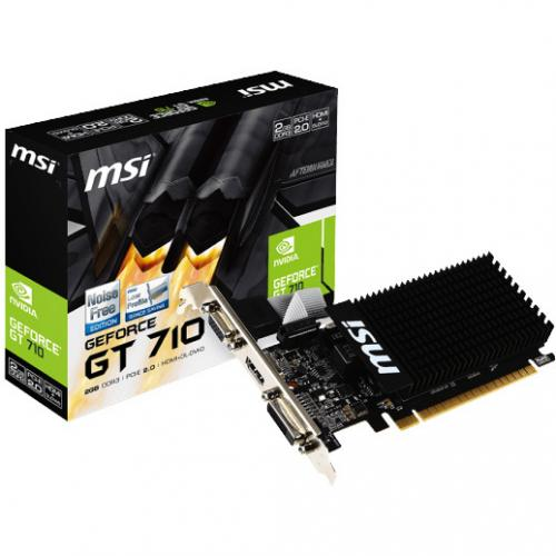 MSI GeForce GT 710 Graphics Card     2GB 64 Bit DDR3   Passive Cooler   NVIDIA GeForce GT 710 954 MHz   Low Profile Design   DirectX 12 Features In-Package/500