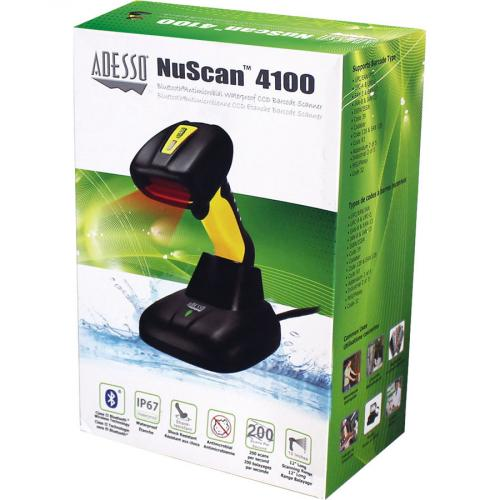 Adesso NuScan 4100B Bluetooth Antimicrobial Waterproof CCD Barcode Scanner In-Package/500