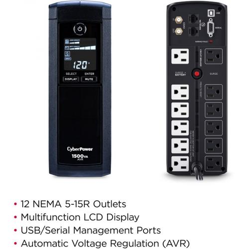 CyberPower Intelligent LCD CP1500AVRLCD 1500VA UPS Labeled-Images/500