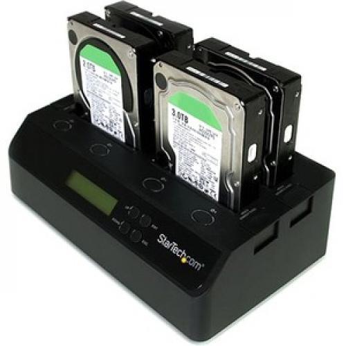 StarTech.com 4 Bay USB 3.0 ESATA To SATA Standalone 1:3 HDD Hard Drive Duplicator Dock Left/500