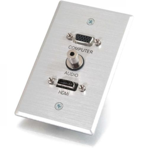 C2G HDMI, VGA And 3.5mm Audio Pass Through Wall Plate Single Gang Brushed Aluminum Left/500