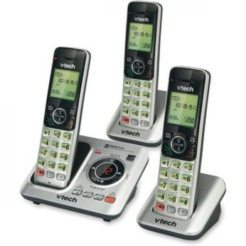 VTech CS6629 3 DECT 6.0 Expandable Cordless Phone With Answering System And Caller ID/Call Waiting, Silver With 3 Handsets Left/500