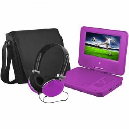 "Ematic EPD707 Portable DVD Player   7"" Display   480 X 234   Purple Left/500"