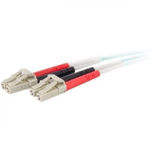 C2G 0.5m LC LC 50/125 Duplex Multimode OM4 Fiber Cable   Aqua   1.6ft Left/500