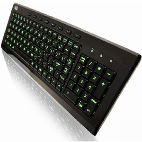 Adesso SlimTouch 120   3 Color Illuminated Compact Multimedia Keyboard Left/500