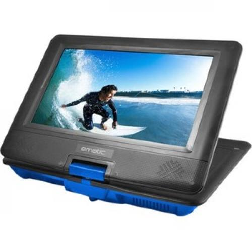 """Ematic EPD116 Portable DVD Player   10"""" Display   1024 X 600   Blue Left/500"""