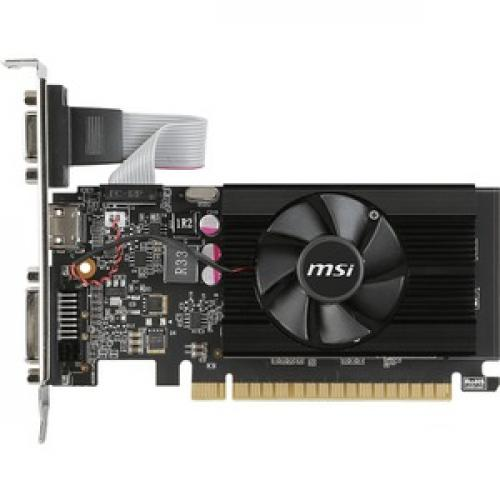 MSI GeForce 710 Graphics Card     2GB 64 Bit DDR3   Includes Fan Cooler   NVIDIA GeForce GT 710 954 MHz   Low Profile Video Card Left/500