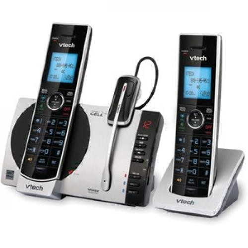 VTech Connect To Cell DS6771 3 DECT 6.0 Cordless Phone   Black, Silver Left/500