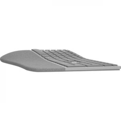 Microsoft Surface Ergonomic Keyboard Gray   Wireless   Bluetooth   QWERTY Key Layout   Made W/ Alcantara Material   Compatible W/ Notebook & Smartphones Left/500