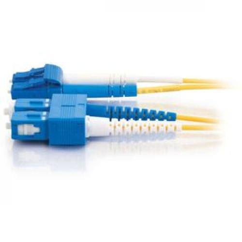 C2G 3m LC SC 9/125 Duplex Single Mode OS2 Fiber Cable   Yellow   10ft Left/500