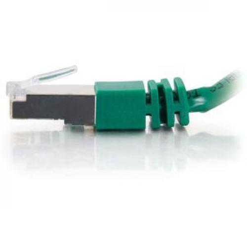 C2G 25ft Cat5e Molded Shielded (STP) Network Patch Cable   Green Left/500