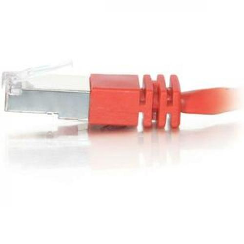 C2G 5ft Cat5e Molded Shielded (STP) Network Patch Cable   Red Left/500