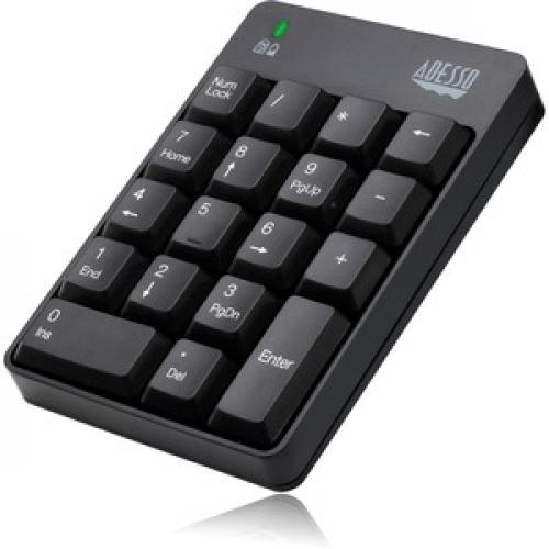 Adesso WKB 6010UB   Wireless Spill Resistant 18 Key Numeric Keypad Left/500