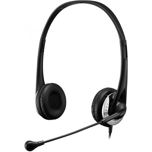 Adesso USB Stereo Headset With Adjustable Microphone  Noise Cancelling  Mono   USB   Wired   Over The Head   6 Ft Cable  , Omni Directional Microphone   Black Left/500