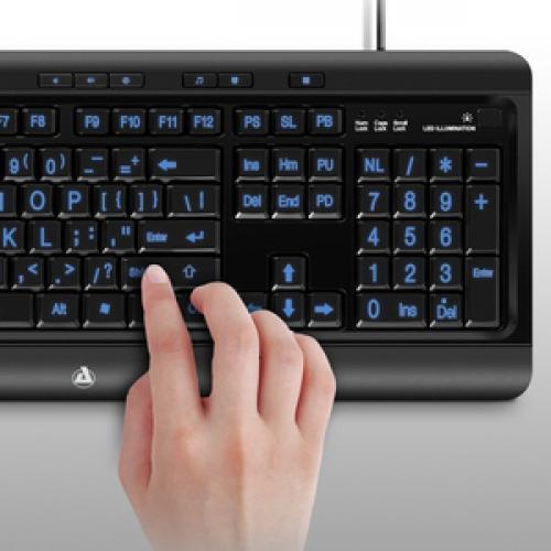 Aluratek Large Print Tri Color Illuminated USB Keyboard Life-Style/500