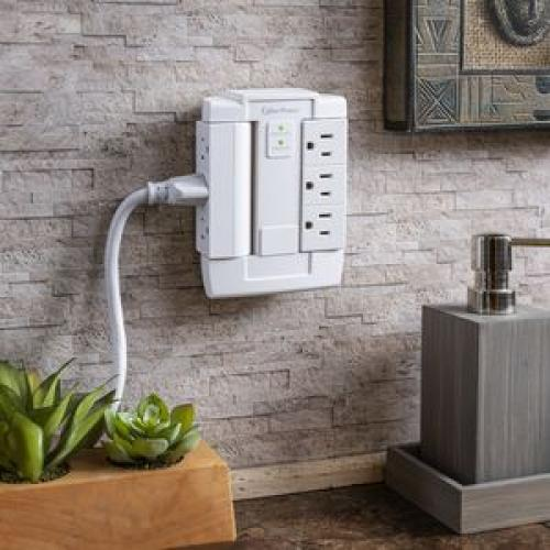 CyberPower CSB600WS Essential 6 Outlets Surge Suppressor Wall Tap And Swivel Outputs   Plain Brown Boxes Life-Style/500