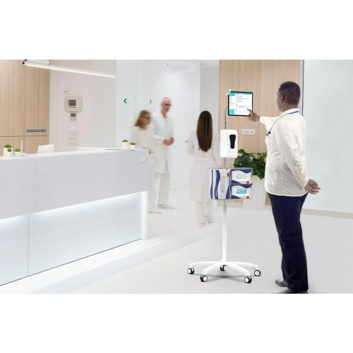 CTA Digital Heavy Duty Medical Mobile Floor Stand For 7 13 Inch Tablets (White) Life-Style/500