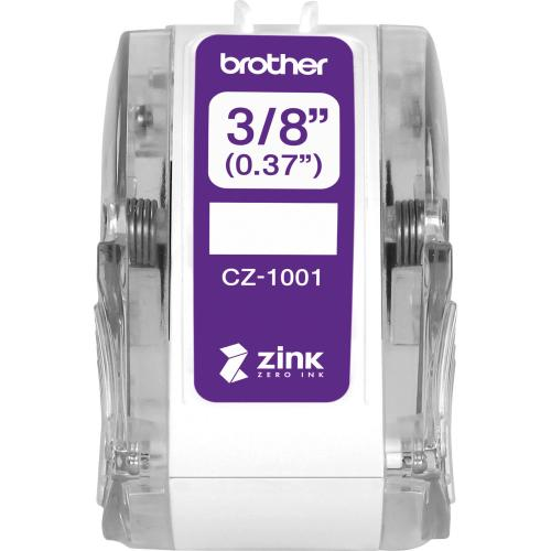 "Brother Genuine CZ 1001 3/8"" (0.37"") 9mm Wide X 16.4 Ft. (5 M) Long Label Roll Featuring ZINK® Zero Ink Technology Out-of-Package/500"