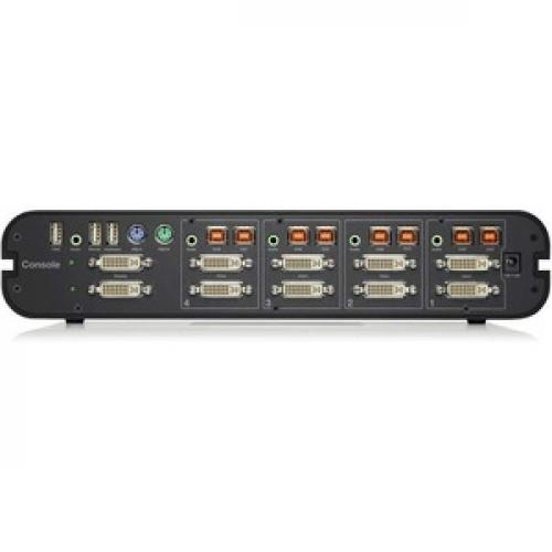 Linksys F1DN104F 3   Advanced Secure Dual Head DVI I KVM Switch; 4 Port Plus, PP3.0 Rear/500