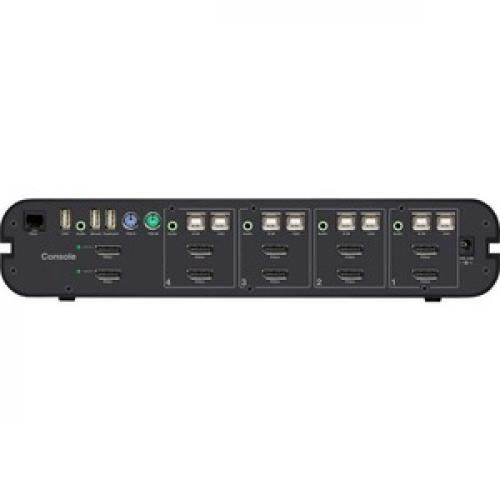 Linksys F1DN104W 3   Advanced Secure 4 Port DisplayPort Dual Head KVM, PP 3.0 Rear/500