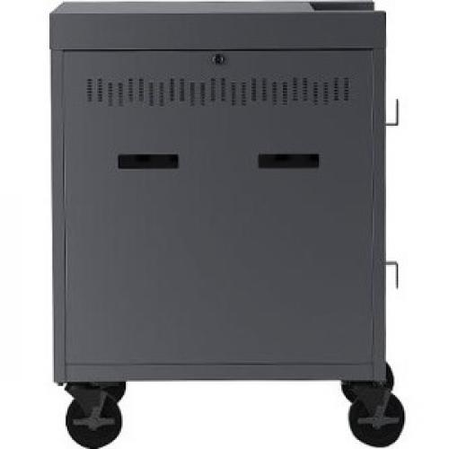 """Bretford CUBE Cart   1 Shelf   4 Casters   Steel   30"""" Width X 26.5"""" Depth X 37.5"""" Height   Charcoal   For 16 Devices PANEL 1.4INW SLOTS Rear/500"""
