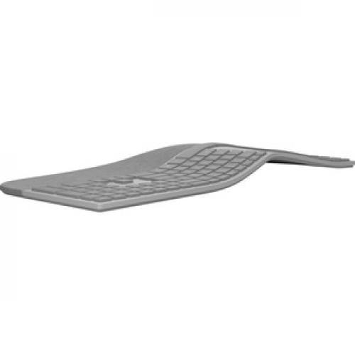 Microsoft Surface Ergonomic Keyboard Gray   Wireless   Bluetooth   QWERTY Key Layout   Made W/ Alcantara Material   Compatible W/ Notebook & Smartphones Rear/500