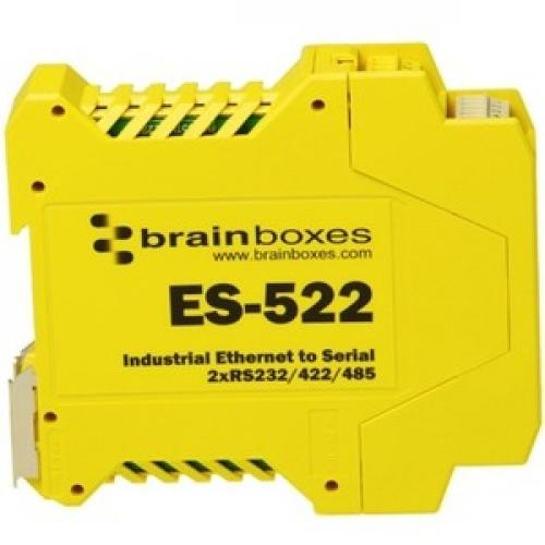 Brainboxes Industrial Ethernet To Serial 2xRS232/422/485 Right/500