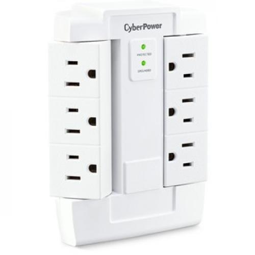 CyberPower CSB600WS Essential 6 Outlets Surge Suppressor Wall Tap And Swivel Outputs   Plain Brown Boxes Right/500