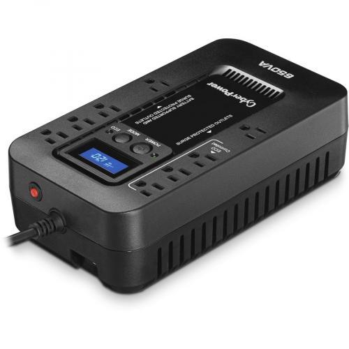 CyberPower EC650LCD Ecologic 650VA/390 Watts Energy Efficient Desktop LCD UPS Right/500
