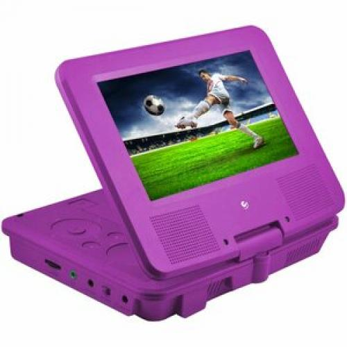 "Ematic EPD707 Portable DVD Player   7"" Display   480 X 234   Purple Right/500"