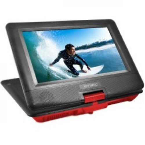 "Ematic EPD116 Portable DVD Player   10"" Display   1024 X 600   Red Right/500"