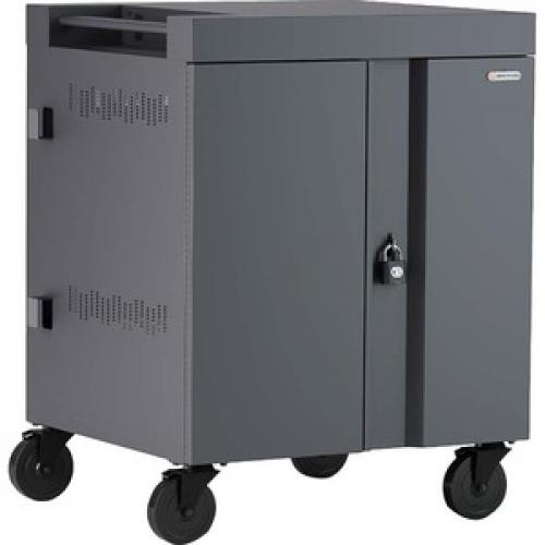 """Bretford CUBE Cart   1 Shelf   4 Casters   Steel   30"""" Width X 26.5"""" Depth X 37.5"""" Height   Charcoal   For 16 Devices PANEL 1.4INW SLOTS Right/500"""