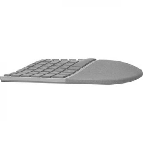Microsoft Surface Ergonomic Keyboard Gray   Wireless   Bluetooth   QWERTY Key Layout   Made W/ Alcantara Material   Compatible W/ Notebook & Smartphones Right/500