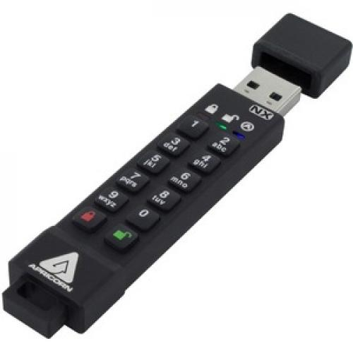 Apricon Aegis Secure Key 3NX: Software Free 256 Bit AES XTS Encrypted USB 3.1 Flash Key With FIPS 140 2 Level 3 Validation, Onboard Keypad, And Up To 25% Cooler Operating Temperatures. Right/500