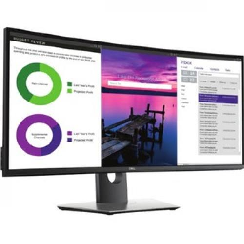 "Dell UltraSharp 34"" Curved Monitor     3440 X 1440 WQHD Display   60 Hz Refresh Rate   In Plane Switching Technology   Picture In Picture Features   Dual 9W Speakers Right/500"