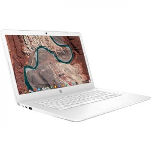 "HP 14 14"" Chromebook Intel Celeron N3350 4GB RAM 32GB EMMC Snow White   Intel Celeron N3350 Dual Core   Intel HD Graphics 500   USB 3.1 Connector   Chrome OS   11 Hr 30 Min Battery Life Right/500"