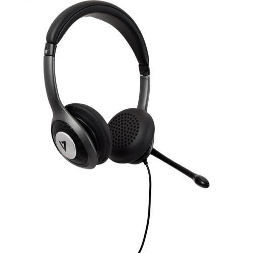 V7 USB C Deluxe Headset With Noise Cancelling Mic, Volume Control, Digital Headset, Laptop Computer, Chromebook, PC   Black, Gray Right/500