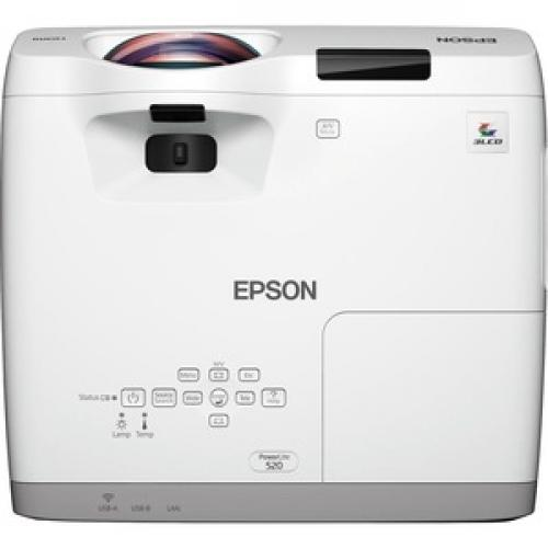 Epson PowerLite 520 Short Throw LCD Projector   4:3   White Top/500