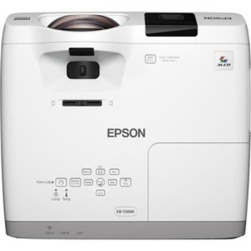Epson BrightLink 536Wi Short Throw LCD Projector   16:10   White Top/500