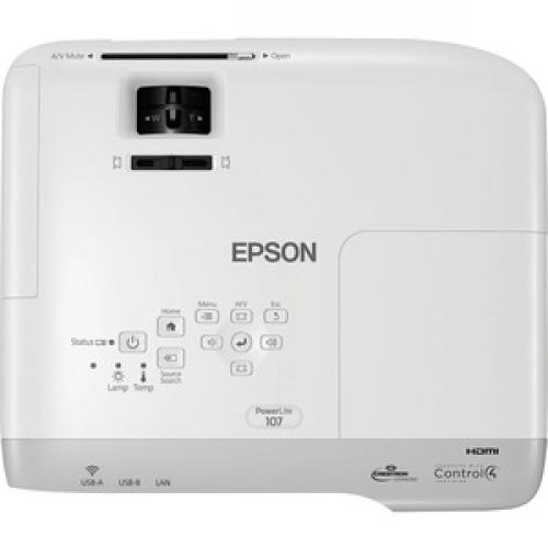 Epson PowerLite 107 LCD Projector   White, Gray Top/500