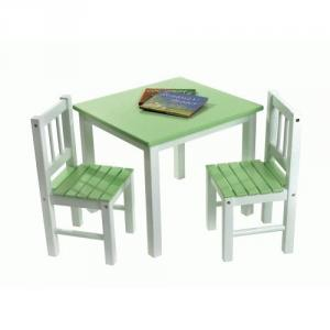 Lipper Child's Table & Chairs, 3-Piece Set, Green & White
